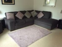 Cargo grey corner sofa, armchair and footstool.