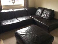 Corner sofa (brown leather) + pouffe