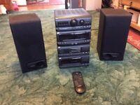 JVC Hi Fi System 3 cd / Cassette/ Radio with Kenwood Speakers