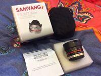 Samyang F3.5/7.5mm MFT wide angle fish eye lens like new