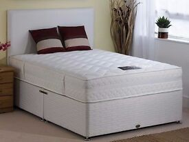 """SAME DAY QUICK DELIVERY* NEW 5FT KINGSIZE DIVAN BED WITH 9"""" DEEP QUILT MATTRESS, HEADBOARD, DRAWERS"""
