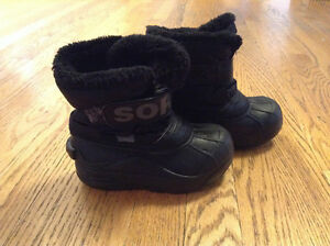 SOREL Black Winter Books Size Child 10