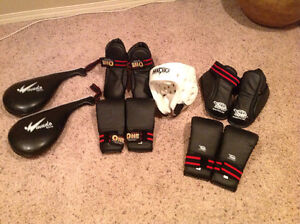 Sparring gear size medium two sets gloves& foot guards ,
