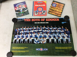 1989 Chicago Cubs team poster, yearbook, program and team set