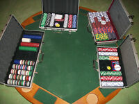 Felt covered oak poker table, with 4 cases of chips