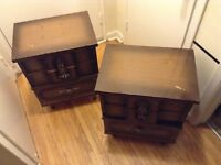 2 wood (compressed)night tables in good condition
