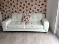 3 seater white leather sofa