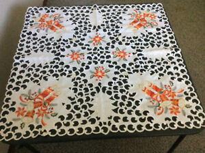 Christmas Candle Square Cut-Out Tablecloth; like *NEW*