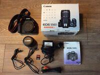 Canon EOS 550D 18.0MP Digital SLR Camera w/ 18-55mm lens + extras