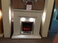 "Step 48"" Ex Display Fireplace In Arctic White With Lights"