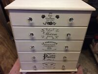 Annie Sloan an white five drawer chest of drawers
