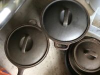 Set of cast iron pans for Aga