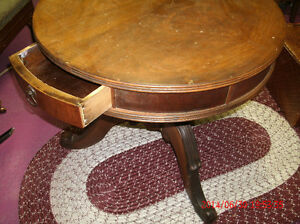 Antique Pedestal Round Wooden Side Table
