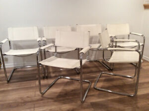 6xVintage Mart Stam Style Chairs-Chaises Style Mart Stam en Cuir
