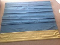 ROMAN BLINDS, FAUX SILK, TURQUOISE WITH LIME GREEN BORDER, 130cm wide, 200cm long