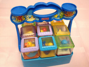 Fisher Price Set of 9 Peek-a-boo Blocks in a stand $10 Windsor Region Ontario image 1