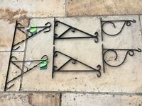 6 x HANGING BASKET BRACKETS 3 NEW/3 USED ALL GOOD CONDITION
