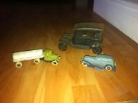 3 vintage die cast toy trucks