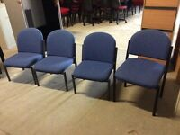 Blue fabric reception chairs