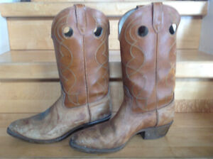 Brown leather western cowboy boots size 12 D