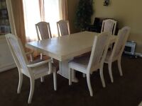 White wash solid wood dining table and matching hutch