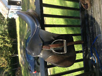 "17"" all leather english saddle with everything"