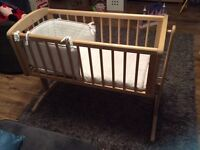 Mothercare natural swinging crib, mattress & bedding set
