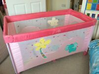 BEATUFULL TRAVEL COT USED once GOOD AS NEW