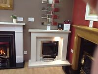 "Crieff 48"" Ex Display Fireplace In Arctic White With Lights"