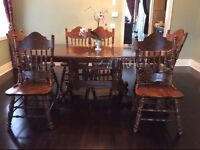 Beautiful brown solid wood dining table!