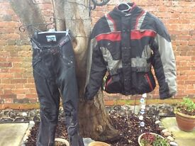 Motor bike jacket and trousers warm weatherproof and wind proof