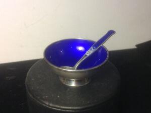 MEKA DENMARK STERLING SILVER BLUE ENAMEL SALT CELLAR AND SPOON