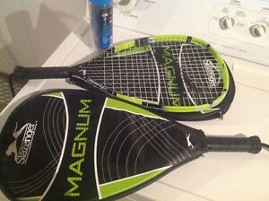 Two Slazenger Racquetball Racquets With Balls