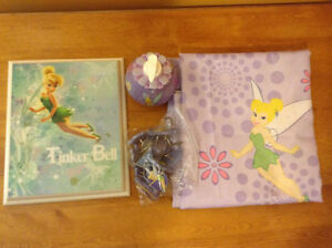 Tinkerbell shower curtain, hooks, soap dispenser, and picture