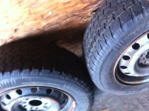 205 65 R 15 WINTER TIRES ON RIMS (3) PUMPED UP