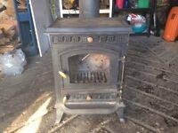 Cast iron log burner with flew
