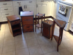 Wooden bins and side tables