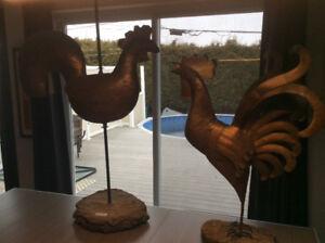2 sculptures cuivre de Claude Huot .