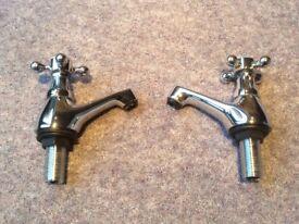Pair of half inch ball end cross head basin taps