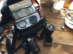 Canon EOS Rebel T3 w/ 75-300 zoom, 3 filters, carry case
