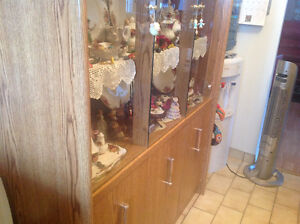 China cabinet  with 8 piece Royal Albert dinner ware.