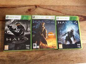 Xbox 360 3 HALO games, HALO 3, HALO 4 and HALO ANNIVERSARY