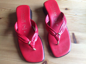 RED ITALIAN LEATHER SANDALS- Size 6