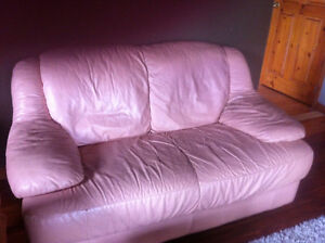 Leather love seat, chair, stools