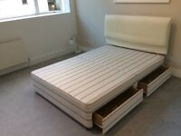 Double bed base with headboard