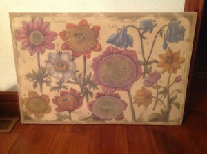 Flowers on burlap