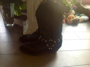 Ladies Black Leather Motorcycle Boots Like New