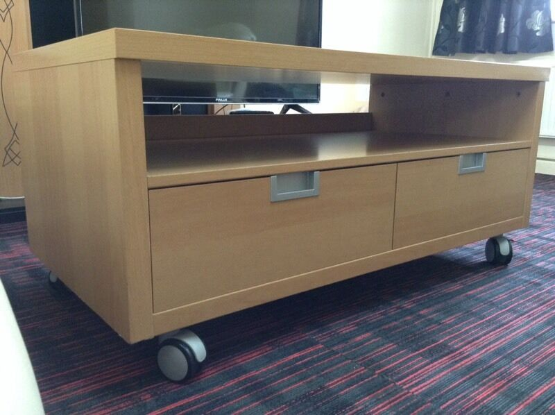 BEECH IKEA TV CABINET WITH 2 LARGE DRAWERS AND COME ON WHEELS | in ...