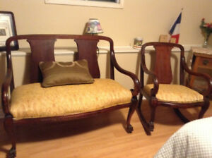 Antique Bench and Rocking Chair