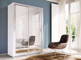 **100% GUARANTEED PRICE!**Berlin Sliding Doors German Wardrobe 203cm With Full Length Mirrors